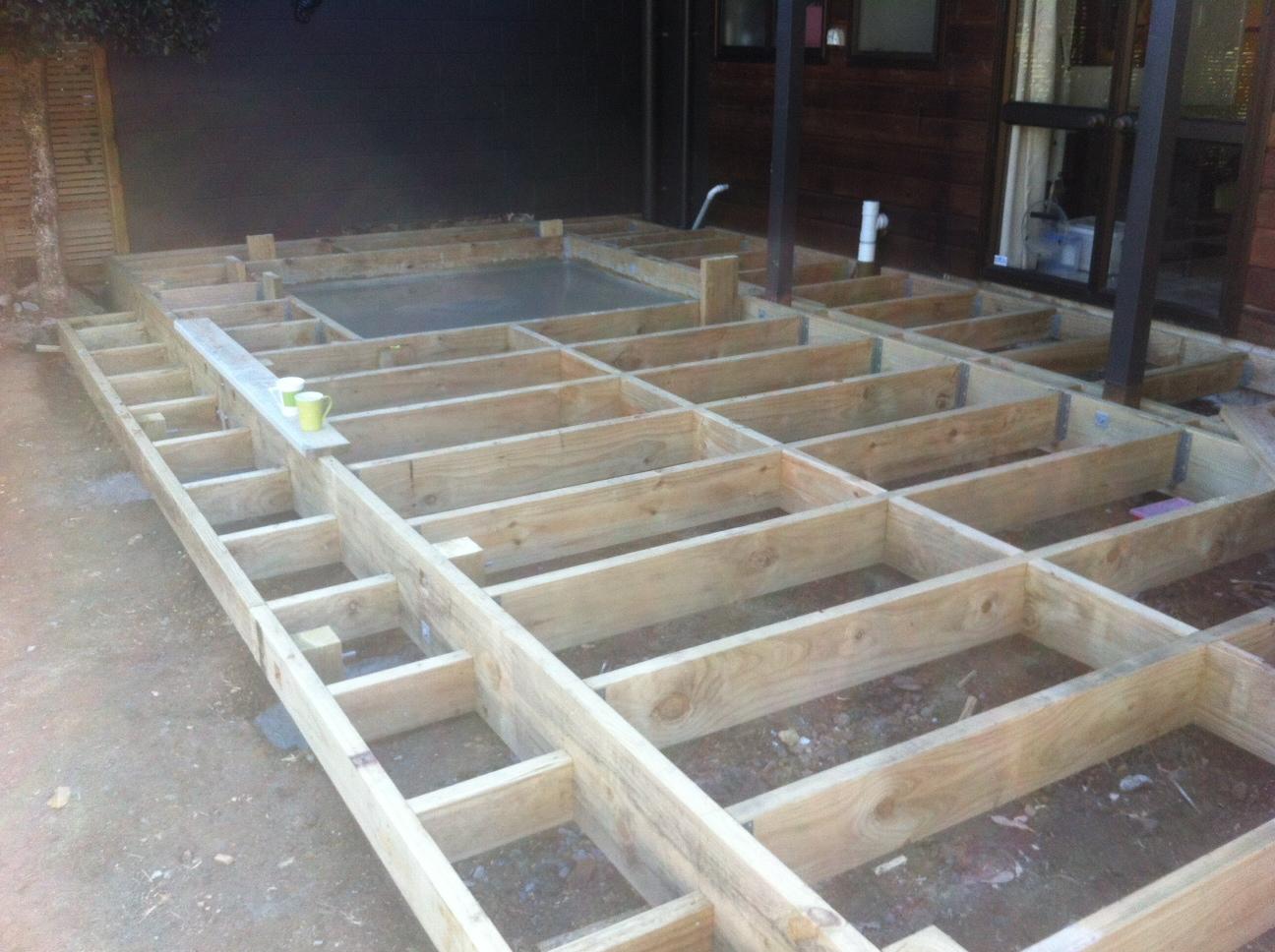 deck framing slab for hot tub